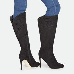 Boho High Heel Boots w/ Laser Cut Outs in Black